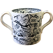 19th Century Farmers Arms Loving Cup Staffordshire Transferware