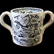 19th Century Farmers Arms Loving Cup Staffordshire Transferware