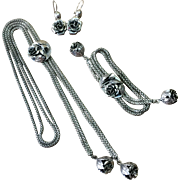 Sterling Silver Danecraft 3D Rose Parure Slide Necklace Bracelet Earrings
