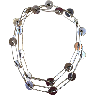 Outstanding Modernist Necklace by Antonio Fallaci • Sterling Silver • Italy