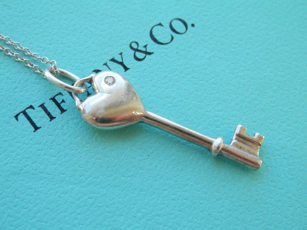 Final markdown lovely tiffany co silver diamond heart key silver diamond heart key pendant bird on a wire antiques ruby lane mozeypictures Images