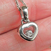 FINAL MARKDOWN! 18K White Gold CHOPARD Happy Diamonds Heart Pendant