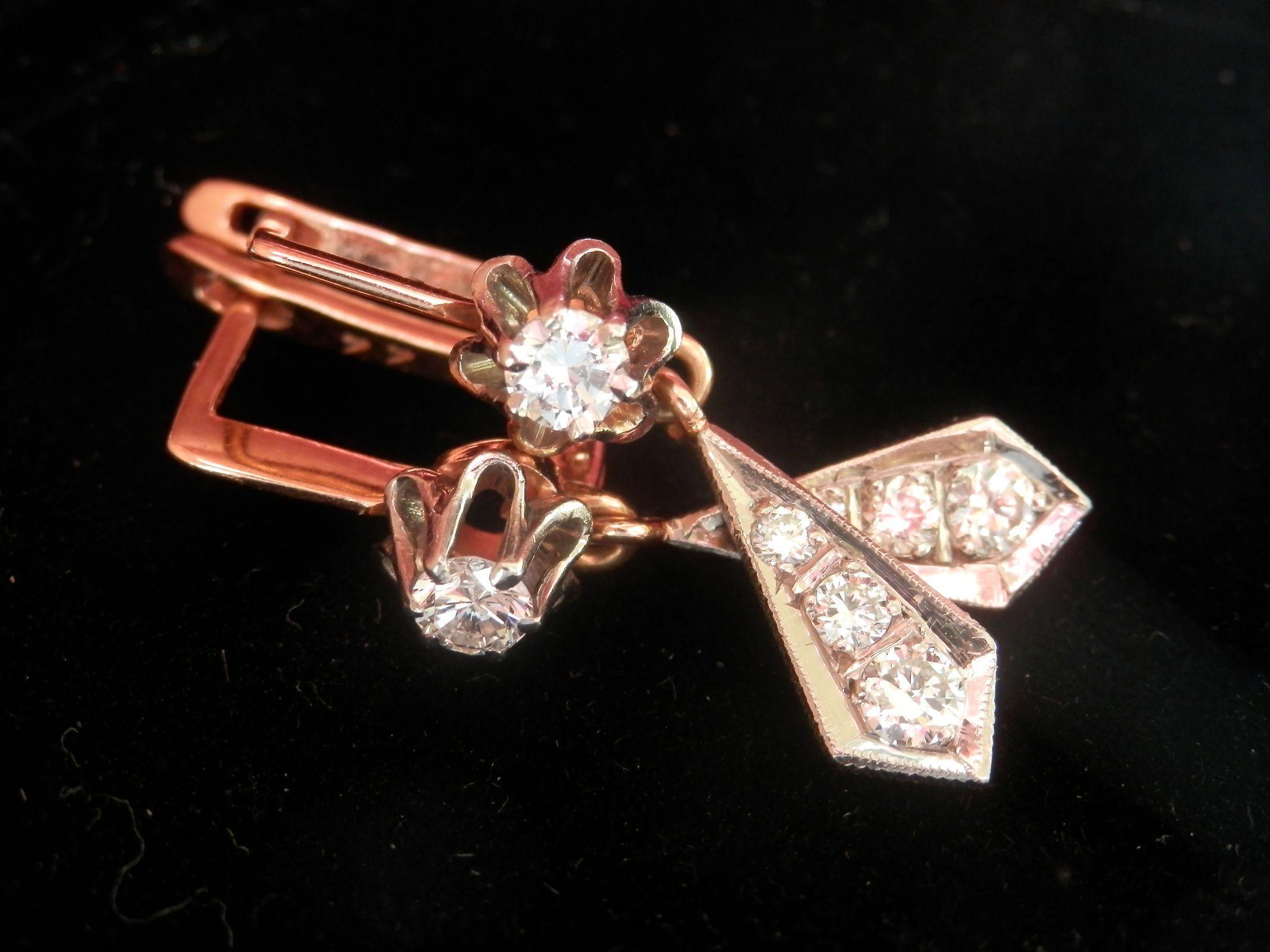 Final Sale! Terrific Russian 14K Gold Diamond Drop Earrings