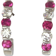 "FINAL MARKDOWN Terrific Kurt Gaum Pink Sapphire Diamond 950 Platinum ""J"" Hoop Earrings"