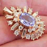 Stunning! Exquisite Custom-Made 14K Gold 1.50 Tanzanite Diamond Pendant