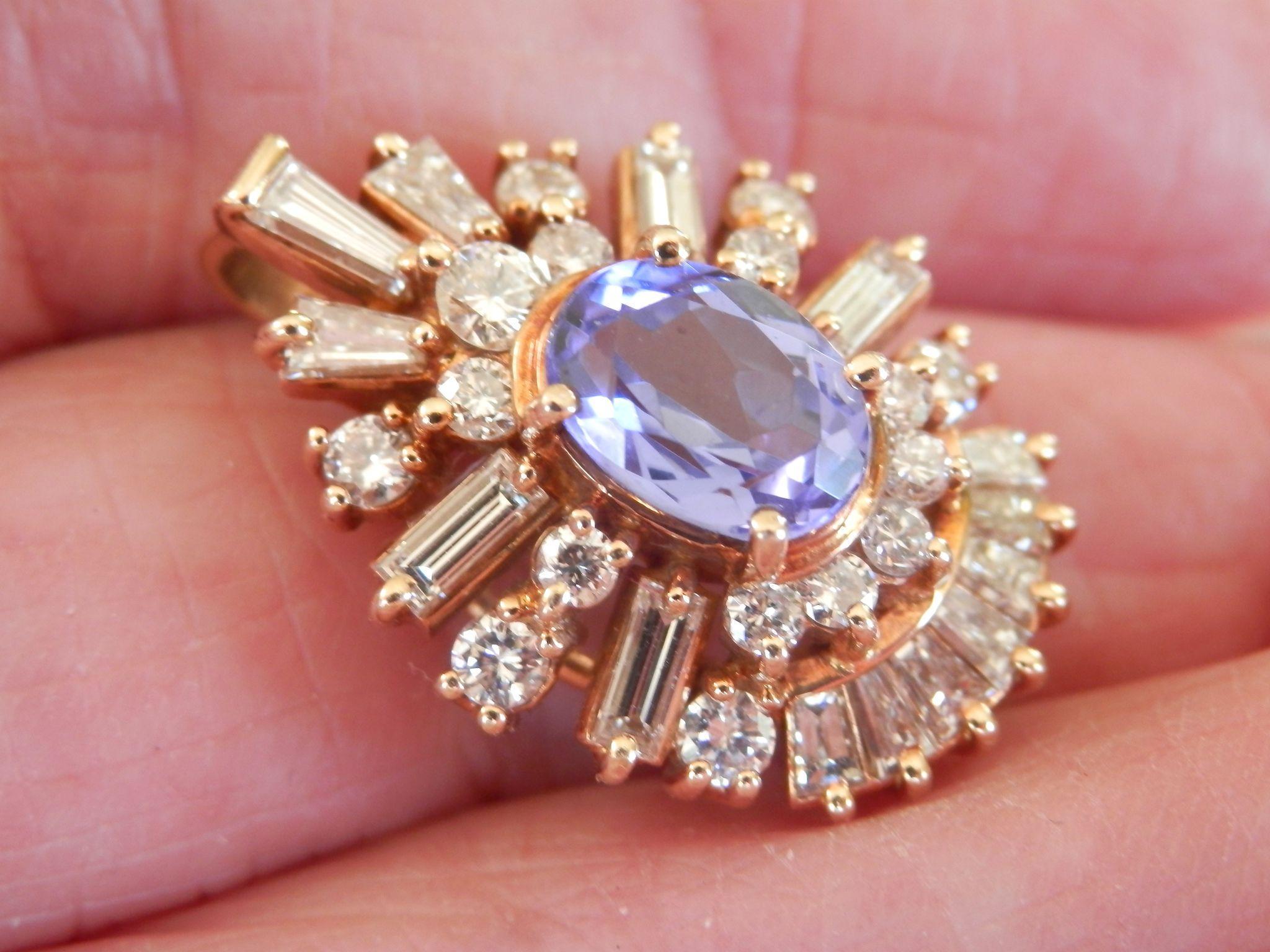 Stunning! Exquisite Custom-Made 14K Gold 1.50 Tanzanite Diamond Pendant