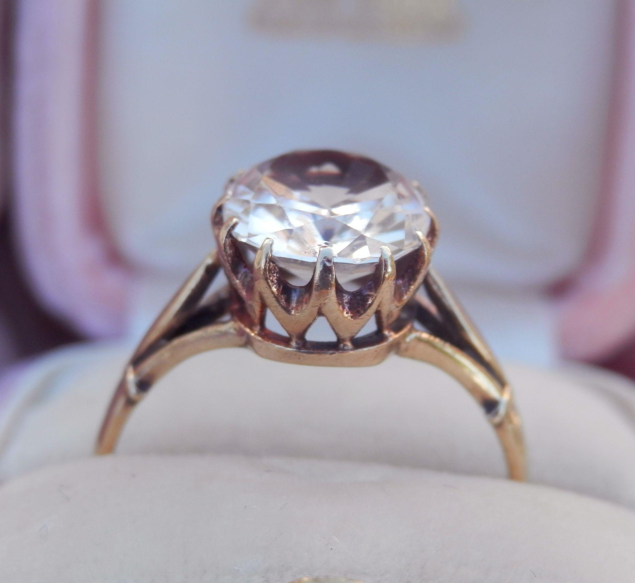 Lovely 9CT 9K Gold Morganite Solitaire Ring~ c1970