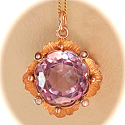 Beautiful 9CT 9K Victorian/Nouveau 7.5 ct. Amethyst Seed Pearl Pendant w/Chain