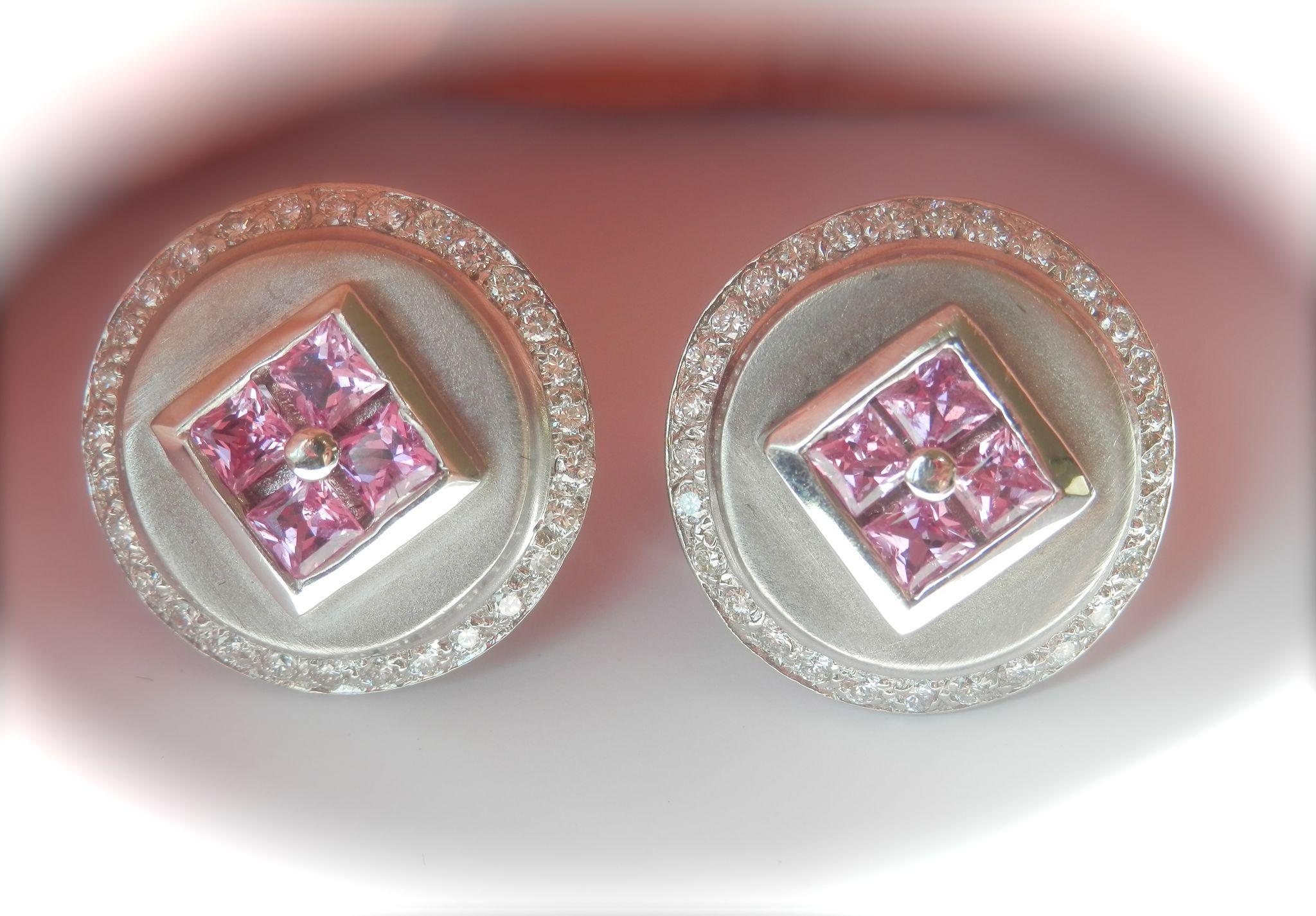 Gorgeous Large 14K White Gold Estate Large Pink Sapphire .80ct Diamond Earrings~12 grams!