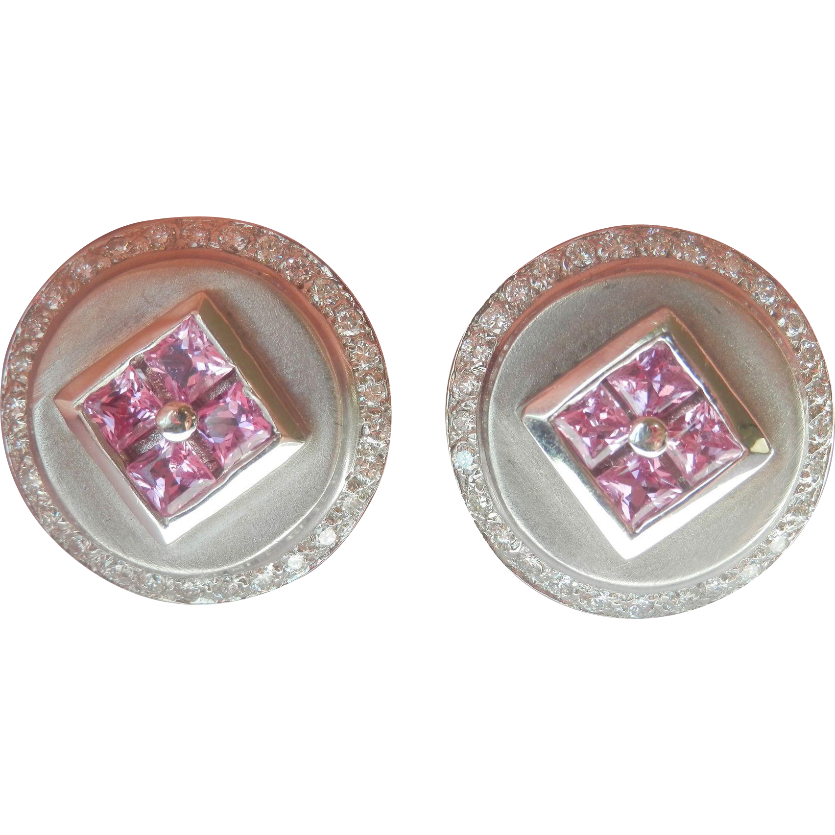 Gorgeous Large 14K White Gold Estate Large Pink Sapphire .80ct Diamond Earrings~12 grams!