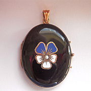 Striking Victorian 9 CT 9K Enamel Pansy Pearl Mourning Locket Pendant