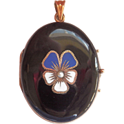 Final Markdown! Striking Victorian 9 CT 9K Enamel Pansy Pearl Mourning Locket Pendant
