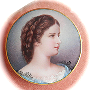 "Final Markdown! Exquisite 18K Gold Enamel Miniature Portrait Pin~ ""Sisi"" of Austria, by M. Goll"
