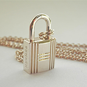 Terrific Authentic Hermes Silver Lock Pendant w/Chain