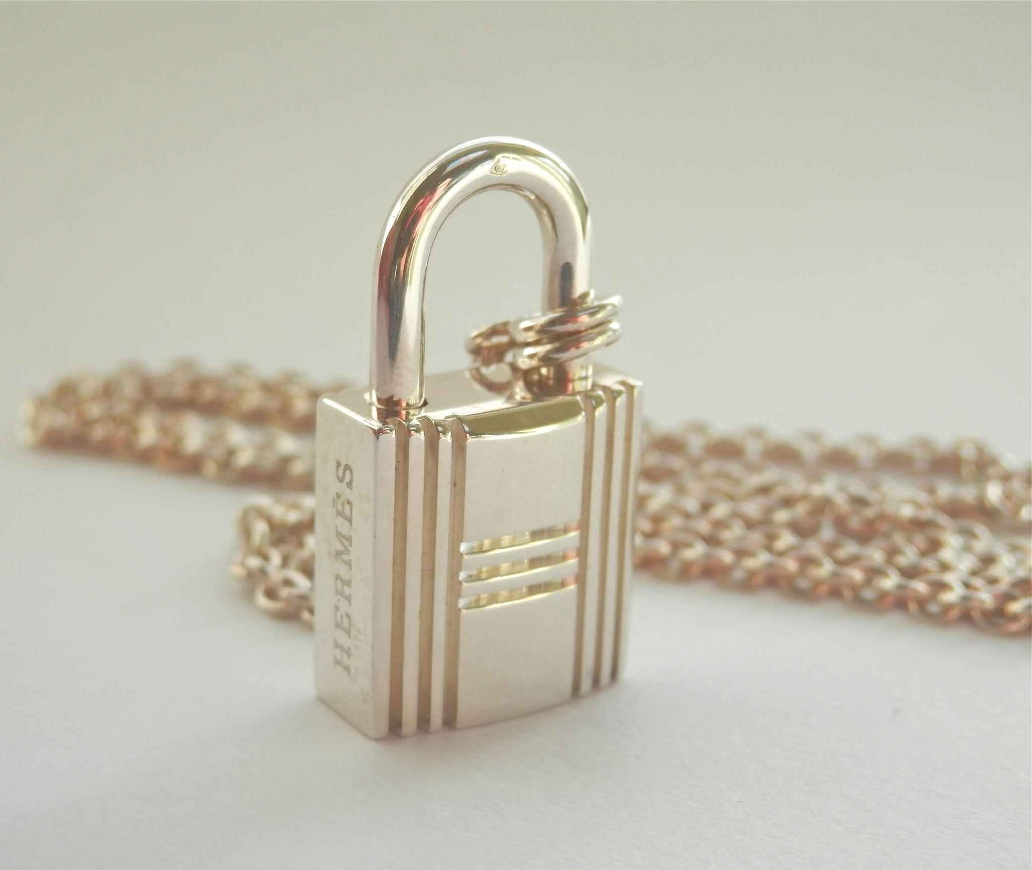 Terrific Authentic Hermes Silver Lock Pendant w/Chain