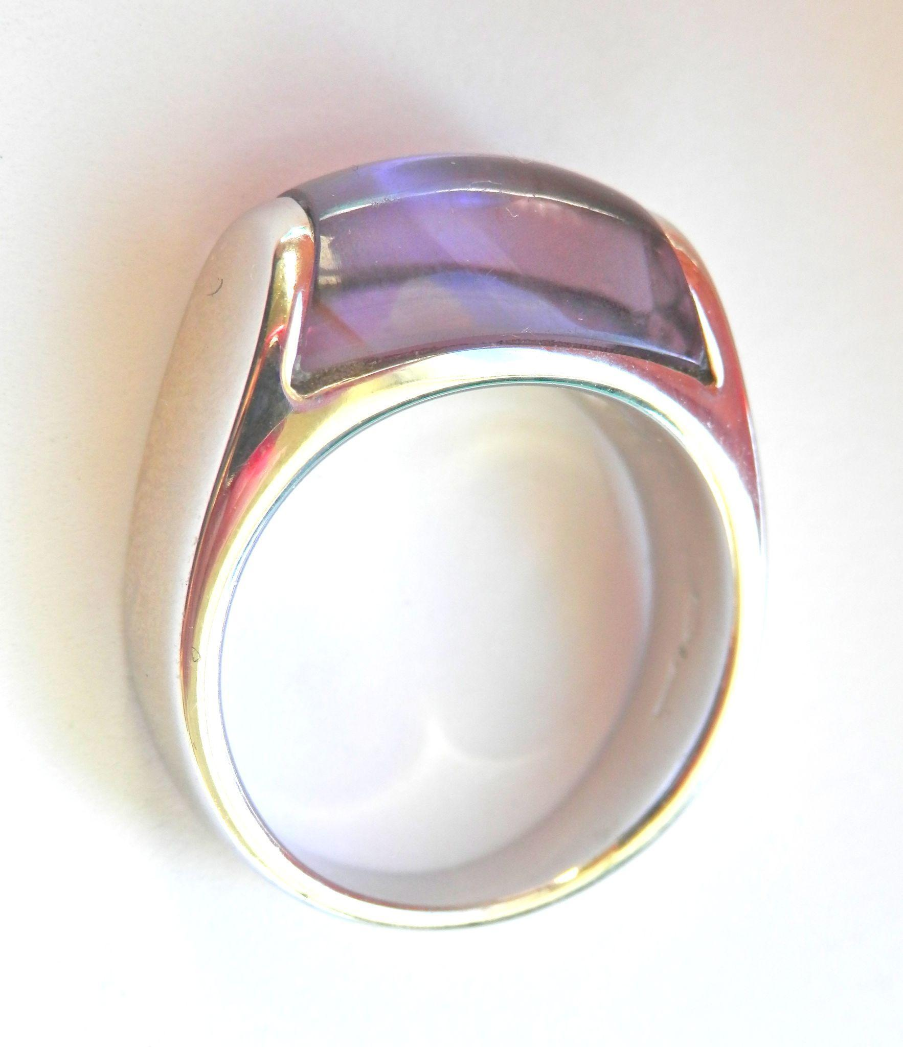 Gorgeous 18K WG Authentic Bvlgari Tronchetto Amethyst Ring