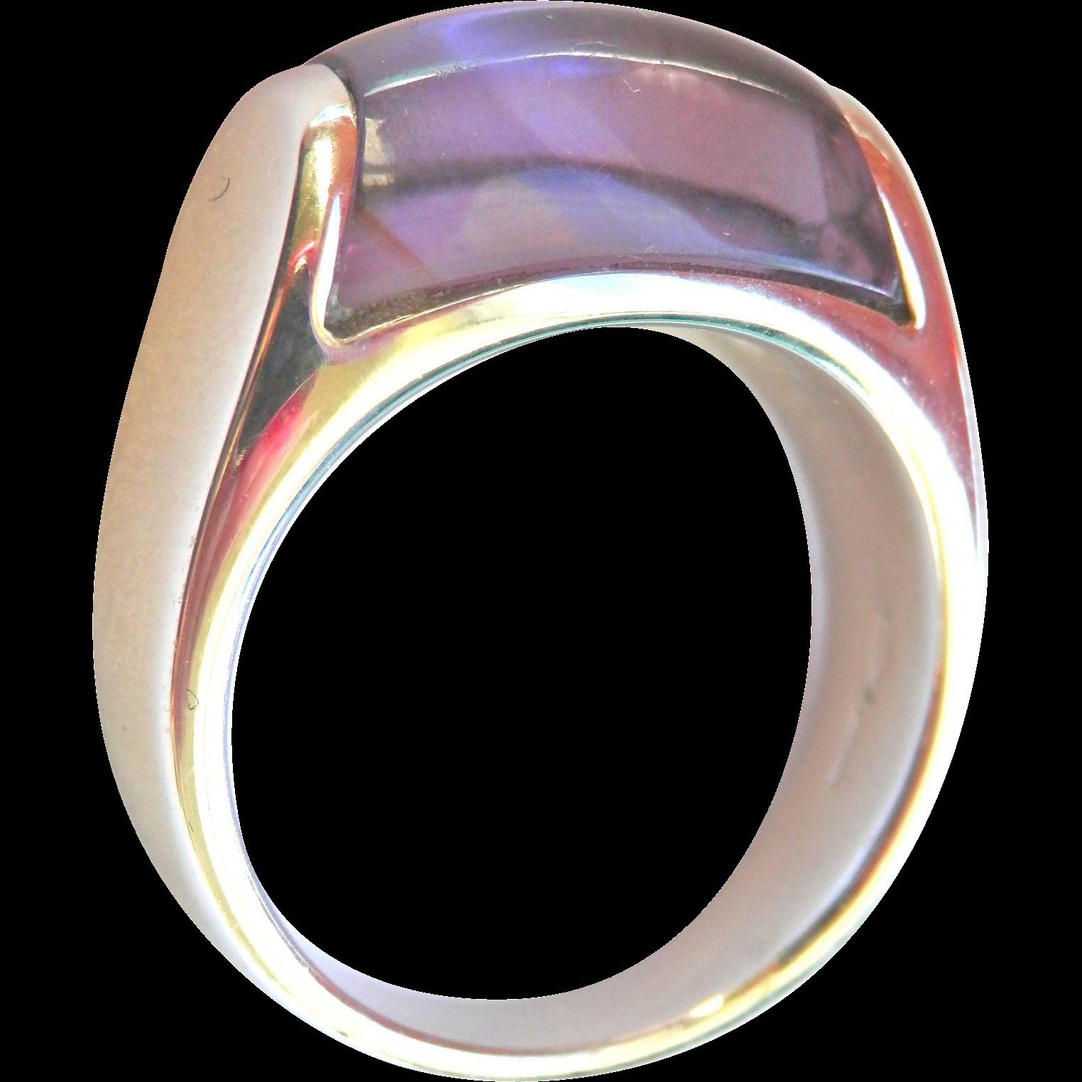 Gorgeous 18K WG Authentic Bvlgari Tronchetto Amethyst Ring