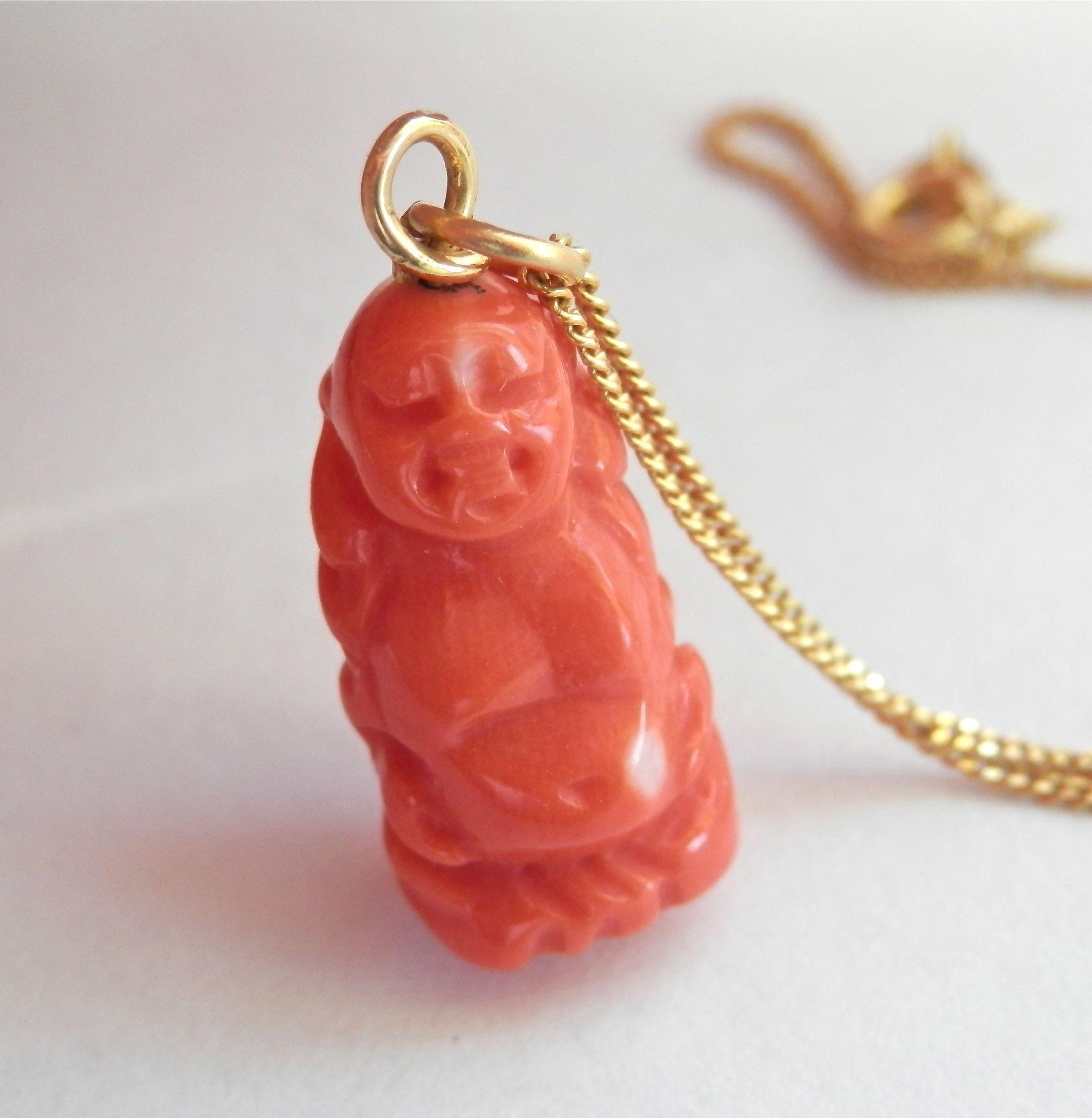 Final Markdown! Beautiful 18K Gold Hand-Carved Coral BUDDHA Pendant