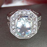 Bold 14K W/Gold 2.00 ct. Aquamarine Diamond Ring