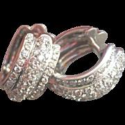 Stunning 18K W/Gold 1.64 CTW Diamond Hoop Earrings~10.7 gms!