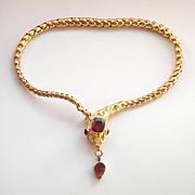 Amazing 15K Y/Gold Garnet Victorian Snake Bracelet