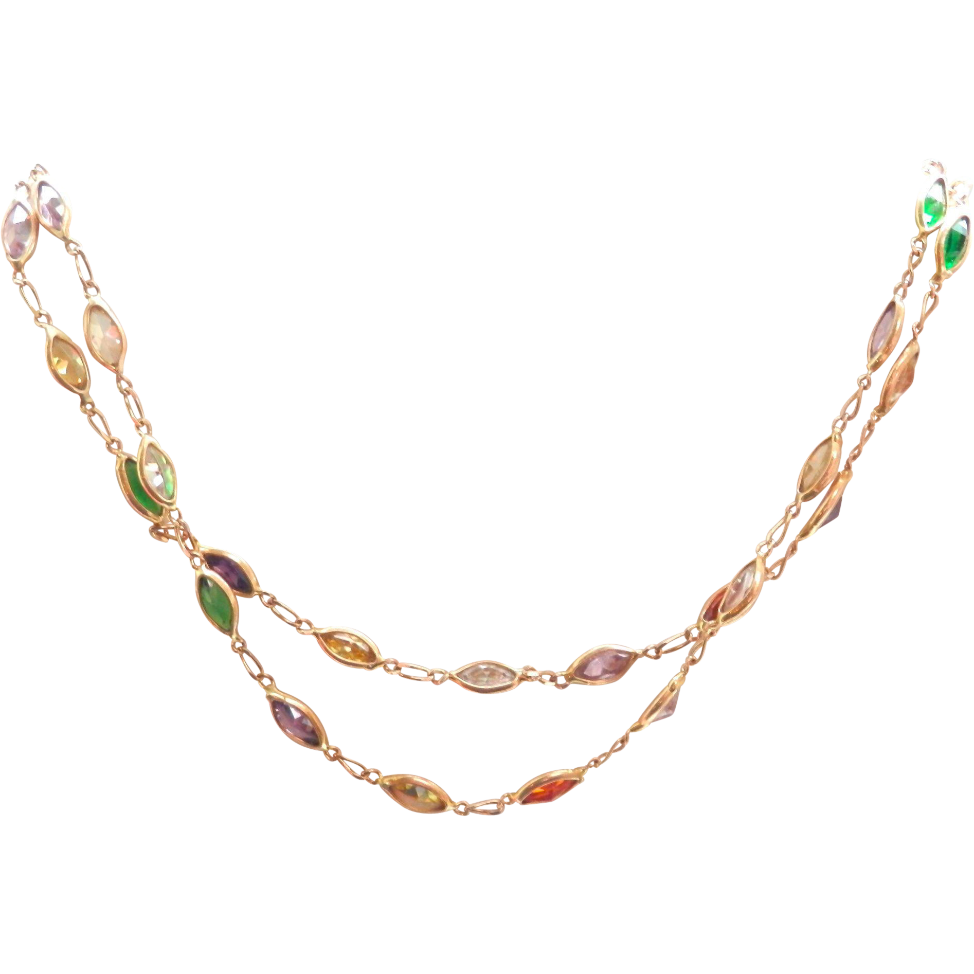 Lovely 14K Y/Gold Multi-Gem Necklace