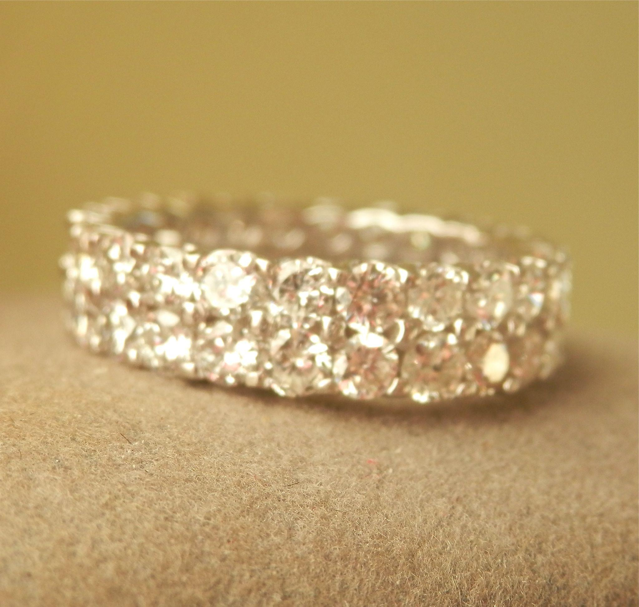 Stunning! 14K W/Gold 3.80 CTW Diamond Full Eternity Ring
