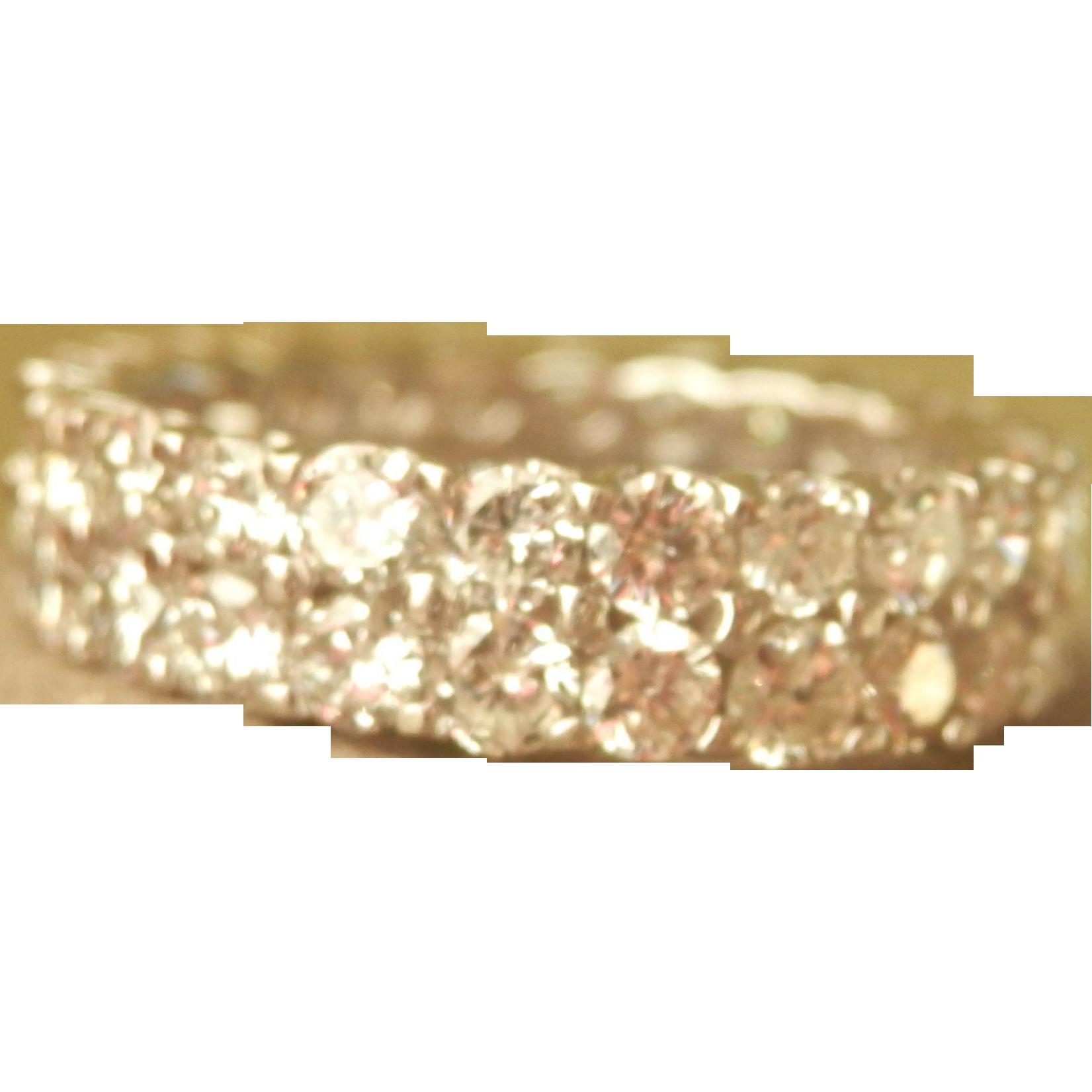 Stunning! 14K W/Gold 3.80 CTW Diamond Full Eternity Ring