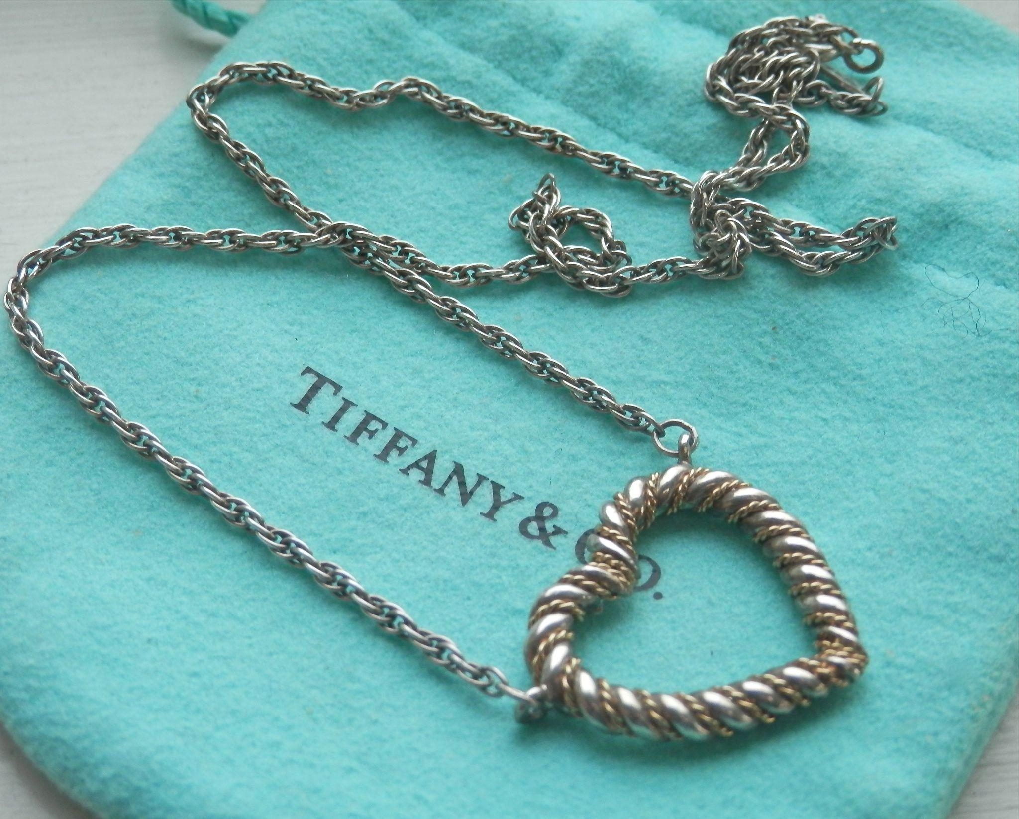 Tiffany & Co Silver 18K Y Gold Heart Twisted Rope Necklace from