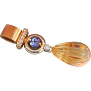 Exceptional Custom made Heavy 18K Gold Tanzanite, Hand-Carved Citrine Diamond Pendant