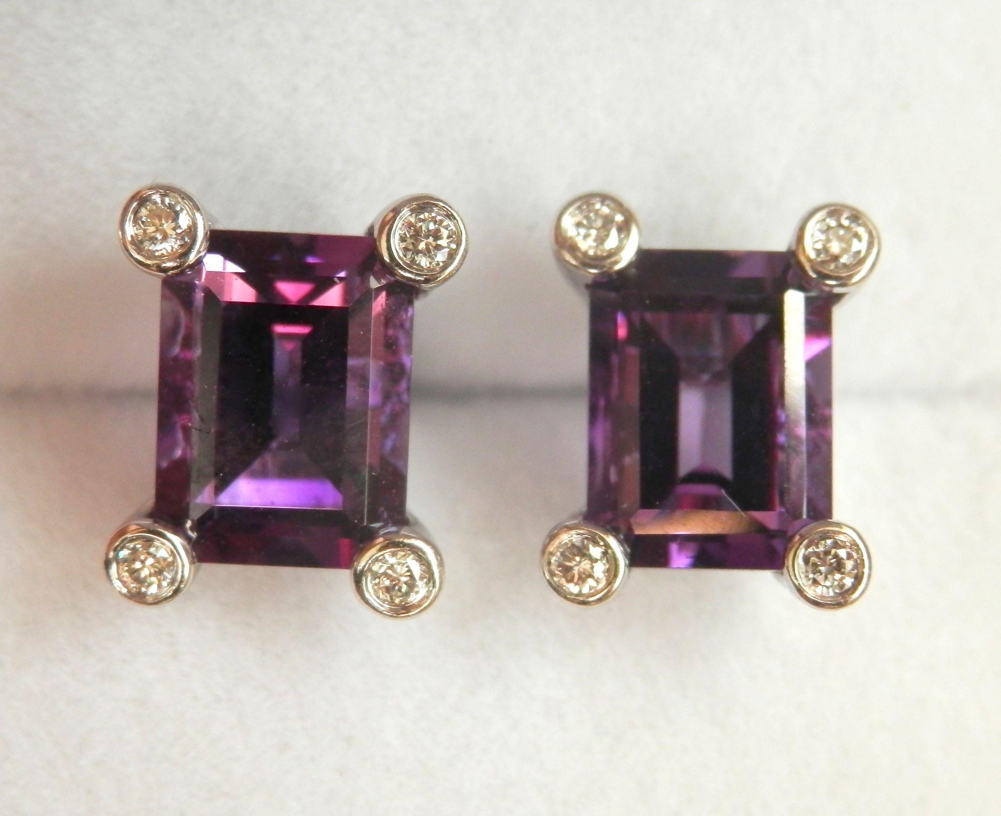 Beautiful 14K W/Gold Deep Purple 2.00 ctw. Amethyst Diamond Earrings