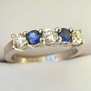 Stunning Diamond & Sapphire Platinum 5-Stone Ring