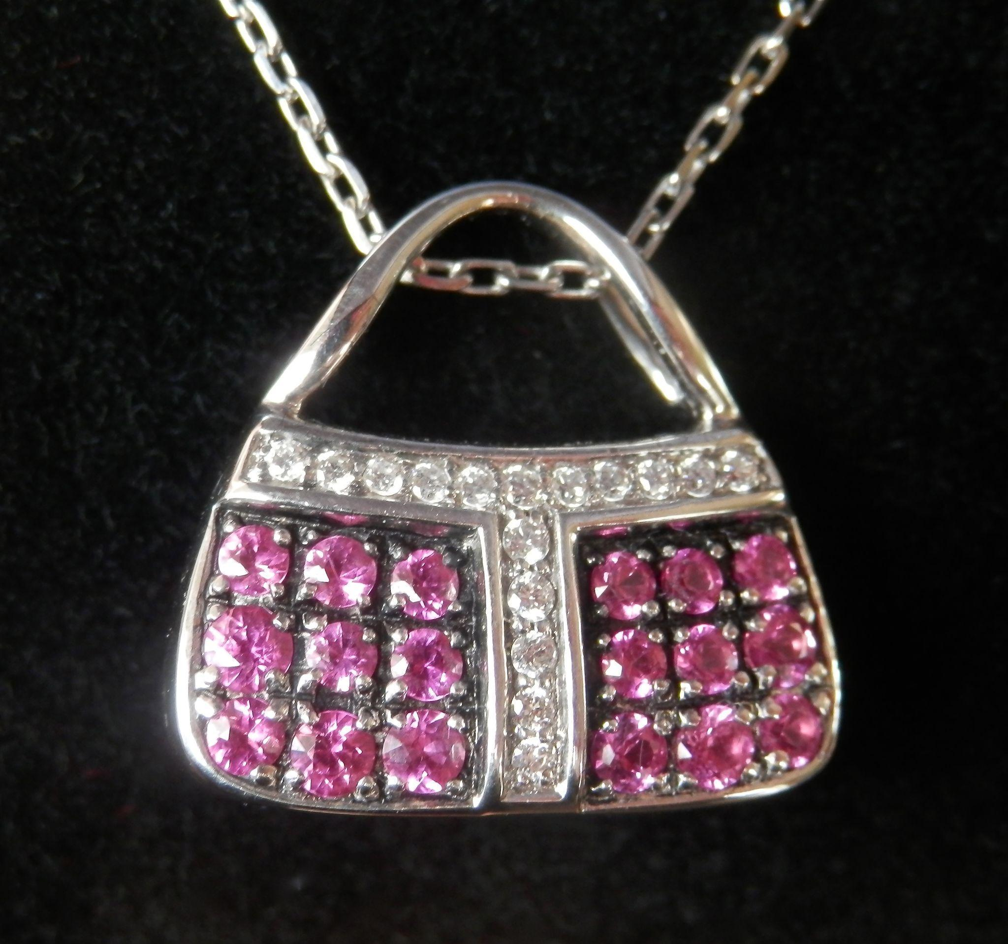 Stunning 18K W/Gold Pink Sapphire MIRABELLE Purse Pendant w/Chain