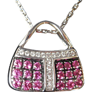 Stunning 18K W/Gold Pink Sapphire MIRABELLE Purse Pendant w/Chain