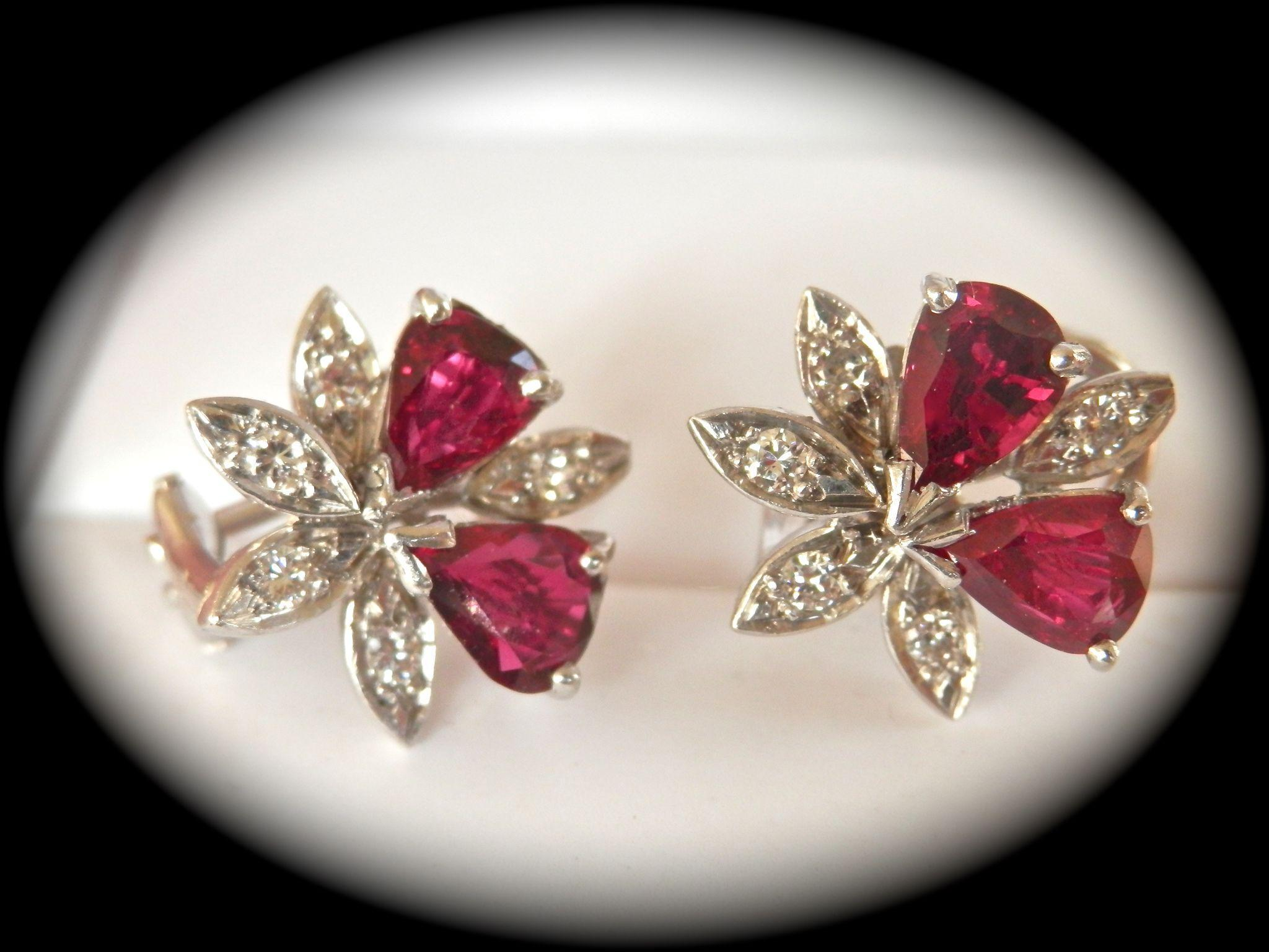 Beautifully Designed 18K W/Gold Ruby Diamond Vintage Earrings