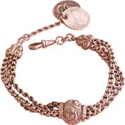 Lovely Antique Continental Silver Ornate Watch Chain/Bracelet with Coin Drop