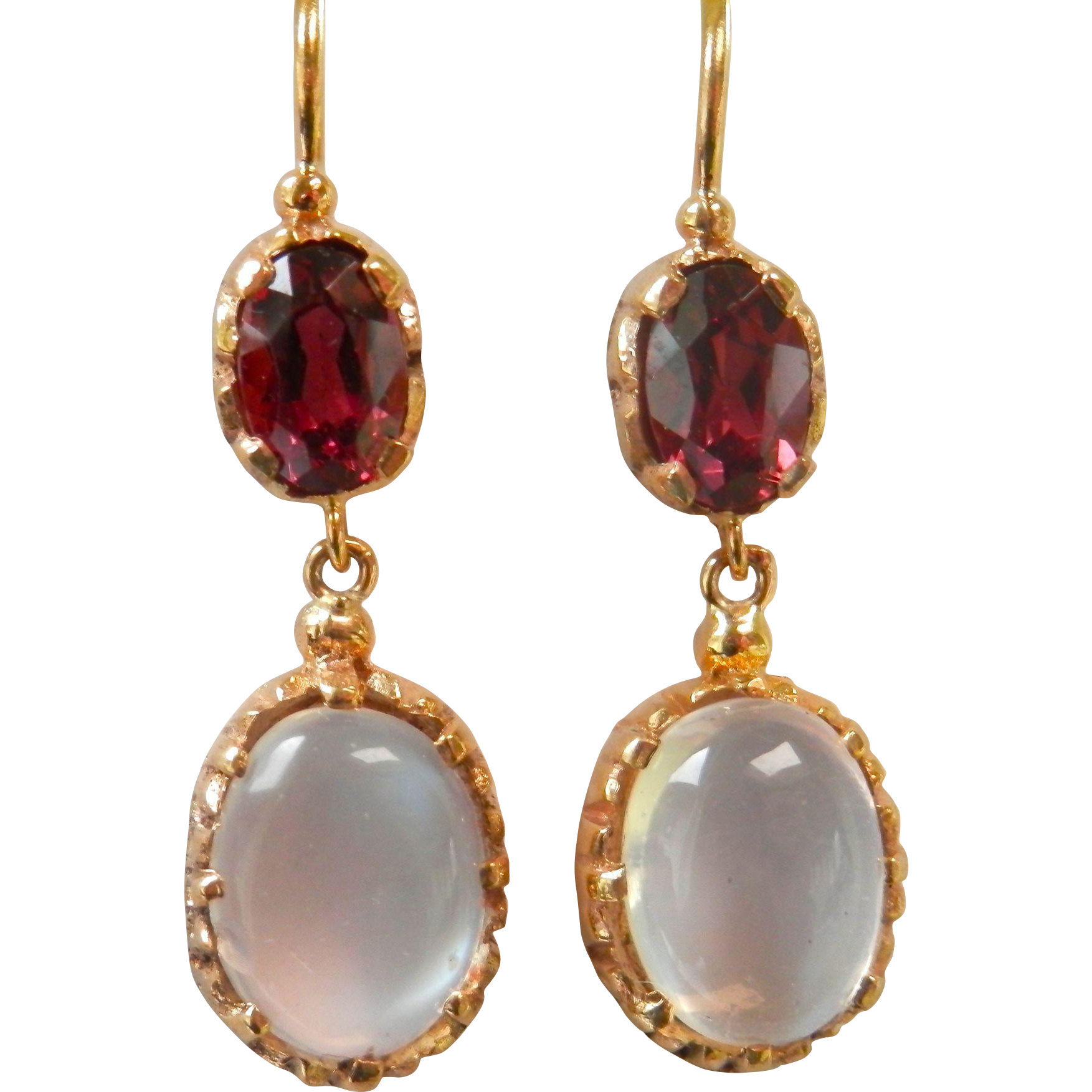 Beautiful 9K Gold Moonstone Garnet Vintage Drop Earrings from bird