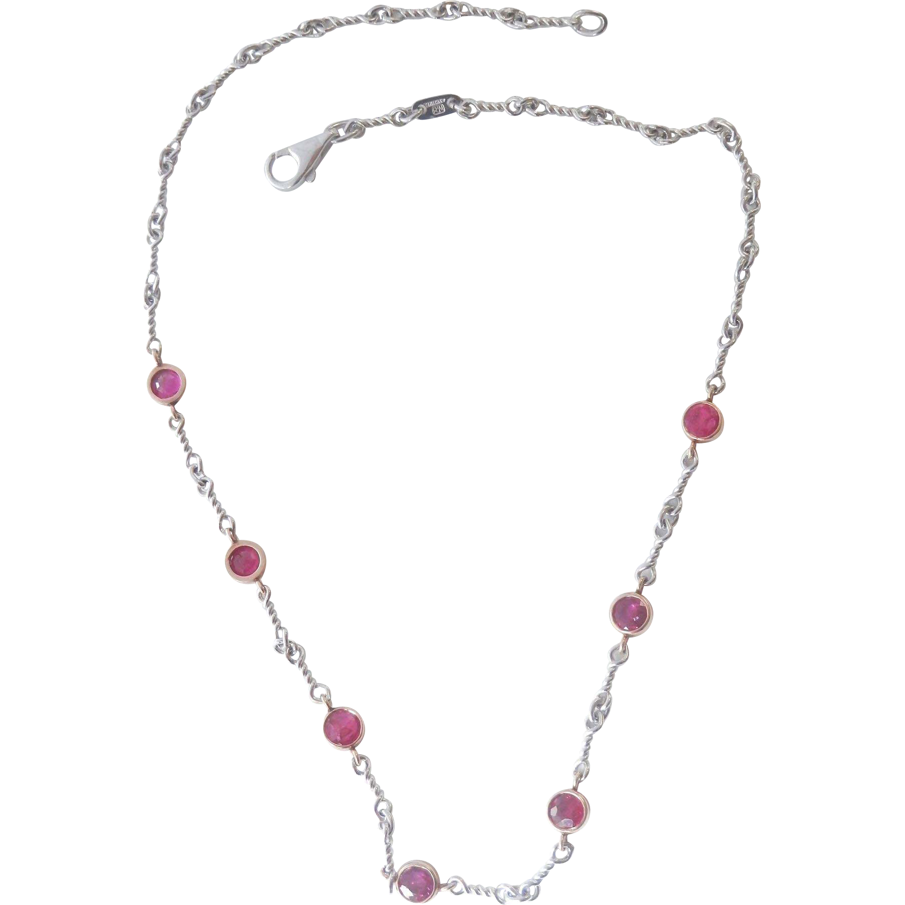 Stunning 14K Gold 3.00 CTW Genuine Ruby By-The-Yard Station Necklace