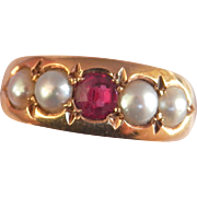 Lovely Victorian 18K Y/Gold Ruby Pearl Ring