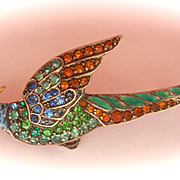 FINAL MARKDOWN! Stunning Antique/Vintage Silver Enamel Pheasant Bird Paste Pin Brooch