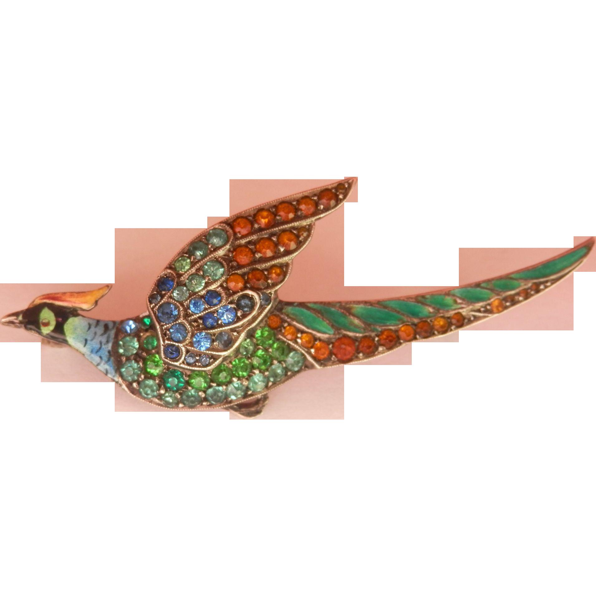 FINAL MARKDOWN! Stunning Antique/Vintage Silver Enamel Pheasant Bird Paste Pin Brooch