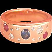 Fabulous Heavy 18K Y/Gold Sapphire, Ruby, Diamond Band Ring