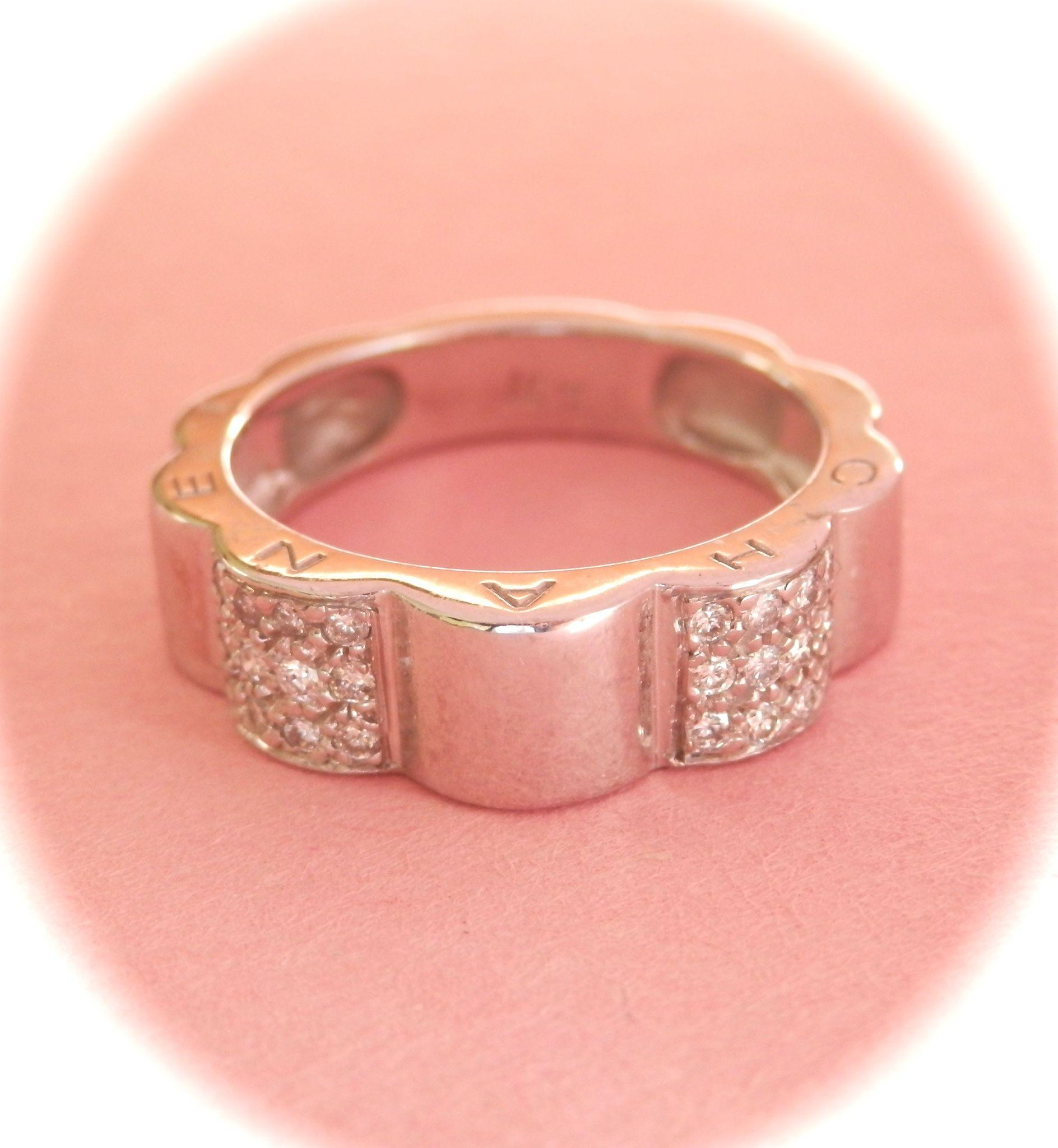 Beautiful 18K W/Gold Diamond Chanel Profil de Camellia Ring