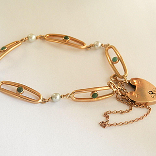 Lovely Victorian 14K & 9K Y/Gold Turquoise Pearl Heart Padlock Bracelet