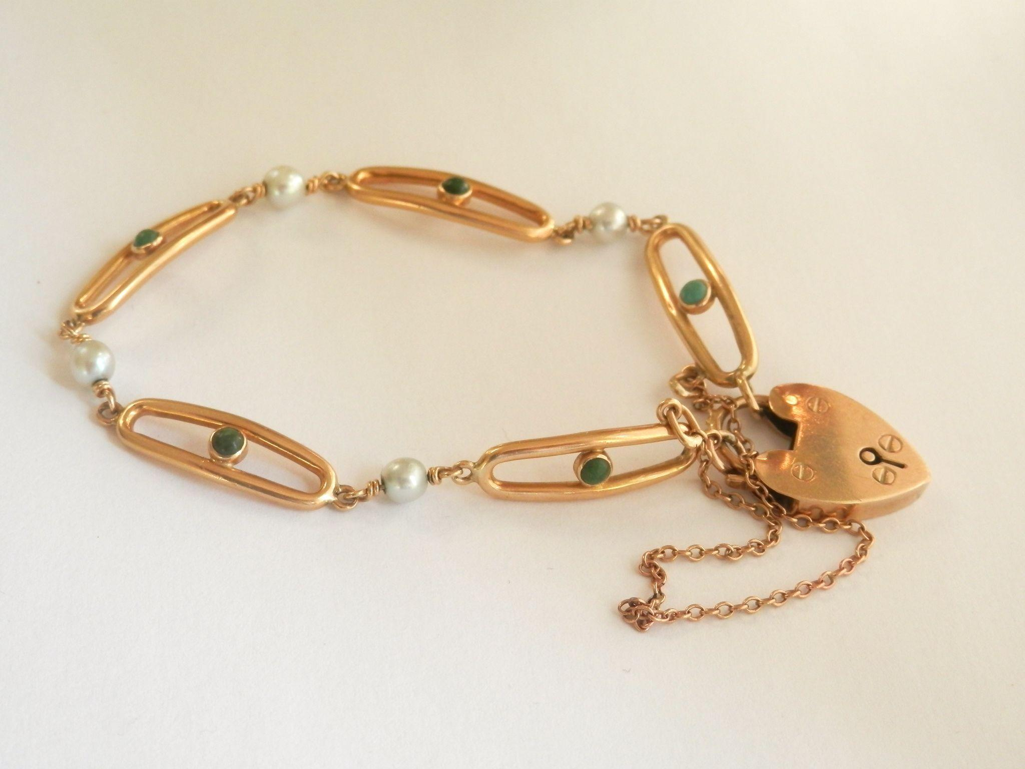 Lovely Victorian 14K & 9K Y/Gold Turquoise Pearl Heart Padlock Bracelet~13.1 gms!