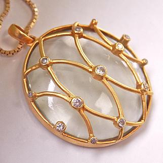 Exquisite Large 18K Y/Gold Diamond Rock Crystal Designer Pendant