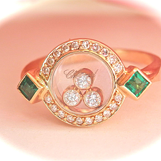 Stunning Authentic CHOPARD 18K Y/Gold Happy Diamonds Emerald Ring