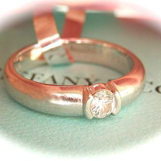 Fabulous Tiffany & Co. Platinum 0.21 ct. Diamond Etoile Ring