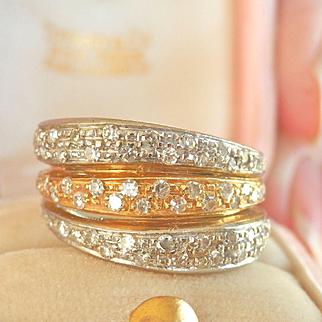 Beautiful Heavy 18K Two-Tone Gold 0.70 ct. Diamond Band Ring