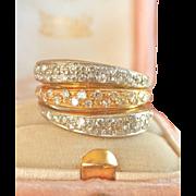 Beautiful Heavy 18K Two-Tone Gold 0.70 ct. Diamond Band Ring~10.0 gms!